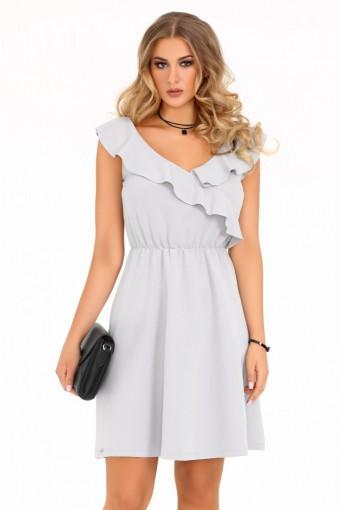 Szara sukienka rozkloszowana z falbankami