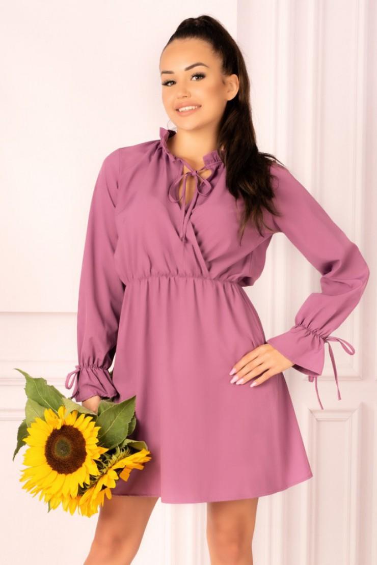 Sukienka ze stójką i wiązanymi rękawami