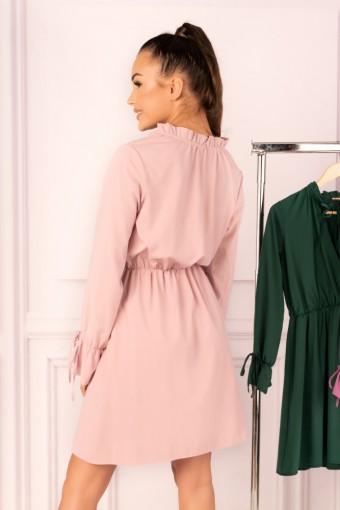 Wrzosowa sukienka ze stójką i wiązanymi rękawami