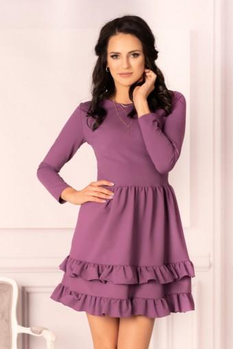 Fioletowa sukienka mini z falbankami