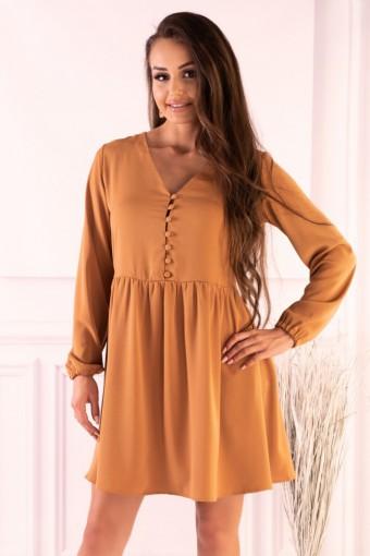Karmelowa sukienka rozkloszowana mini