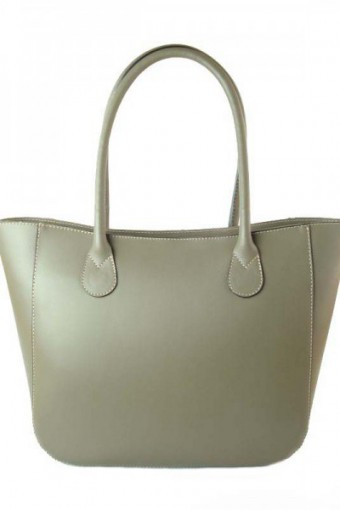 Beżowa torebka skórzana shopper